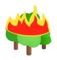 Burning forest trees icon isometric 3d style vector image vector image