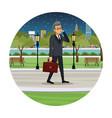 business man talk walking street view night vector image vector image
