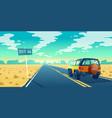 cartoon desert landscape with road vector image vector image