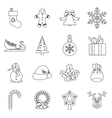 Christmas icons set outlline style vector image