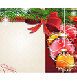 Christmas tree branches with bow and baubles vector image vector image