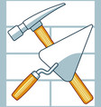 crossing hammer and trowel vector image vector image
