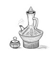 ethiopian vintage coffeepot with a hot drink and vector image