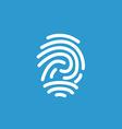 fingerprint icon white on blue background vector image vector image