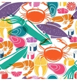 Fish and seafood background seamless pattern vector image vector image