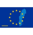 Flag of European Union with Sweden on background vector image