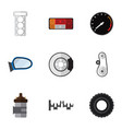 flat icon parts set of metal headlight wheel and vector image vector image