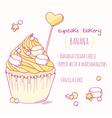 Hand drawn banana cupcake vector image vector image