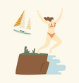 happy female character jumping from cliff edge to vector image