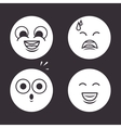 icons emoticons monochrome design vector image