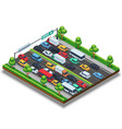 Isometric highway with traffic jam 3d