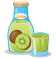Kiwi juice in the bottle vector image