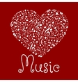 Loving musical heart symbol made up of notes vector image vector image