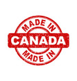 made in canada red stamp on white background vector image vector image