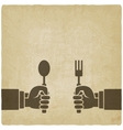 Menu old background Hands with fork and spoon vector image vector image