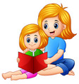 mother and daughter reading book together on a whi vector image vector image