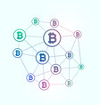 network of blockchain bitcoins background vector image vector image