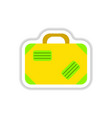 paper sticker on white background suitcase vector image vector image