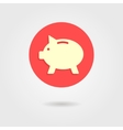 piggy bank in the circle with shadow vector image