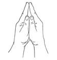 praying positioned hands vintage engraving vector image vector image