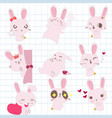 rabbit bunny in various cute emotion vector image vector image