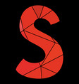 s red alphabet letter isolated on black background vector image