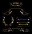 set gold handdrawn vintage elements ribbons vector image