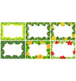 set of nature flower frame vector image