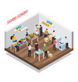 sharing meetup isometric background vector image vector image