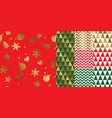 simple geometric xmas repeatable pattern set vector image vector image