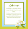 spring poster place text in frame anemone snowdrop vector image