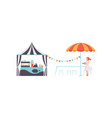 street food stall with seller park cafe or fast vector image vector image