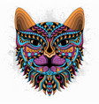 stylized cat zentangle vector image vector image