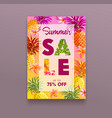 summer sale banner with pineapple and plumeria vector image