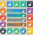 Taurus icon sign Set of twenty colored flat round vector image vector image