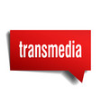 transmedia red 3d speech bubble vector image vector image