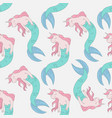 unicorn mermaid seamless pattern vector image vector image