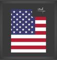 Utah map with american national flag