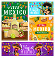 viva mexico banners fiesta party food and drink vector image vector image