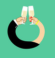 wedding male and female hand to drink wine to vector image vector image