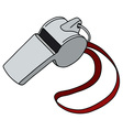 Whistle with a red cord vector image