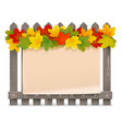 wooden fence with maple leaves vector image vector image