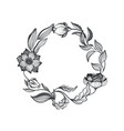 wreath doodle flowers and leaves vector image vector image