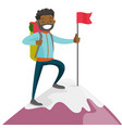 young african-american man on the top of mountain vector image
