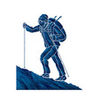 a man hiking on the mountain vector image