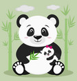 a sweet panda sits and holds a baby with a pink vector image vector image