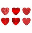 abstract grunge hearts set vector image