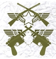 Badges with wings and small arms vector image vector image