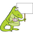 cartoon alligator holding a piece of cake and a si vector image vector image