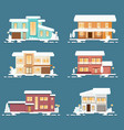christmas flat style house collection eps10 vector image